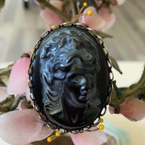 Antique engraved black coral Lava ring